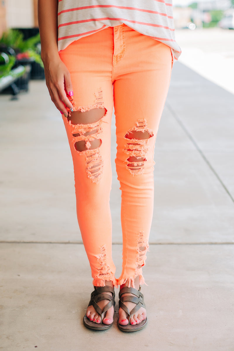 Neon Orange Skinnies - West Avenue
