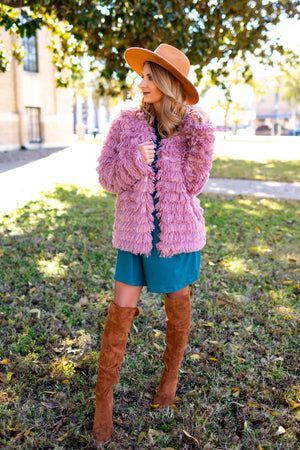 Walking In Memphis Faux Fur Jacket - Mauve - West Avenue