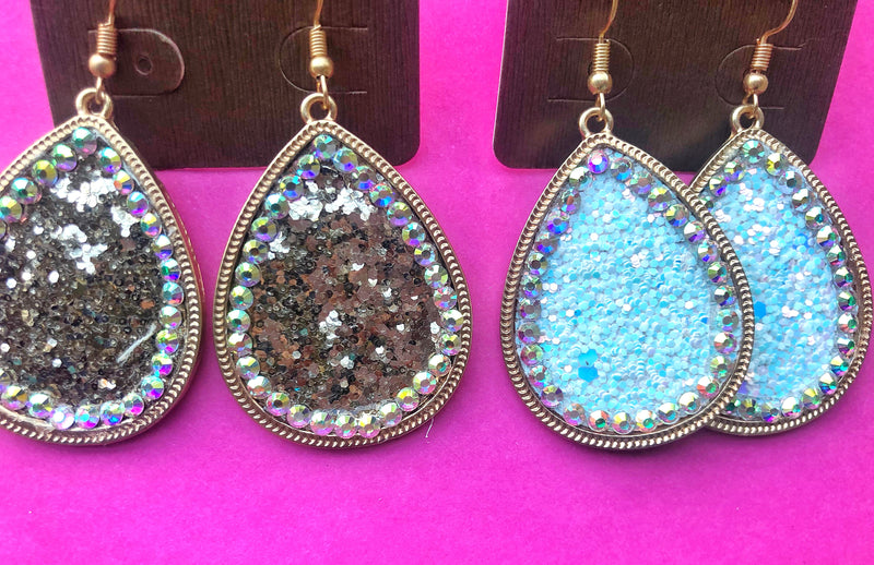 Crystal Glitter Earrings - West Avenue