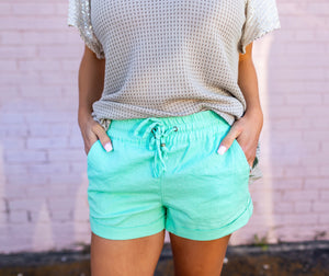 Mint Linen Shorts - West Avenue