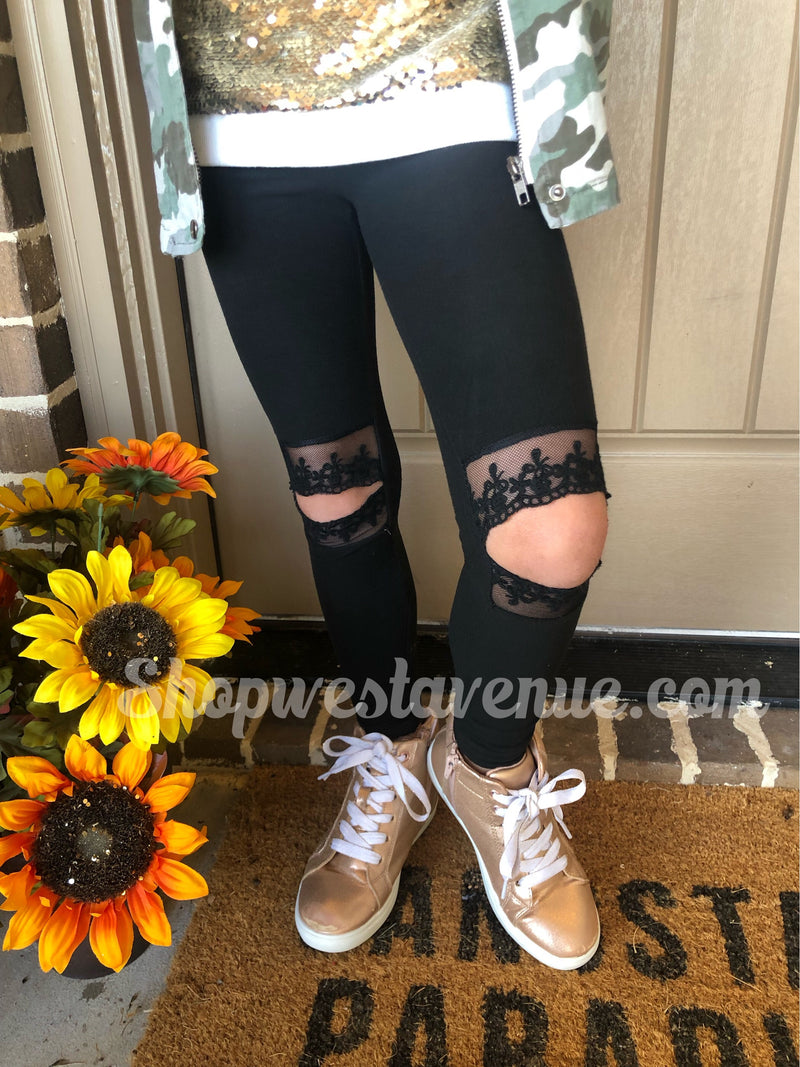 Lace Cut Out Leggings - Youth