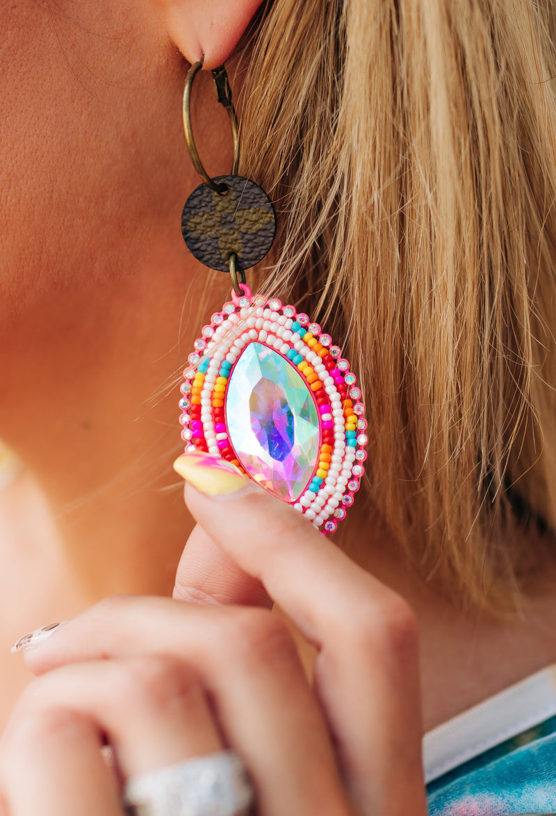 Keep It Gypsy Pink Stone Earrings