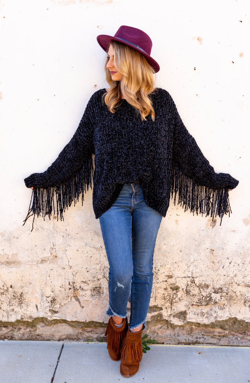 Drop Everything Fringe Sweater - West Avenue