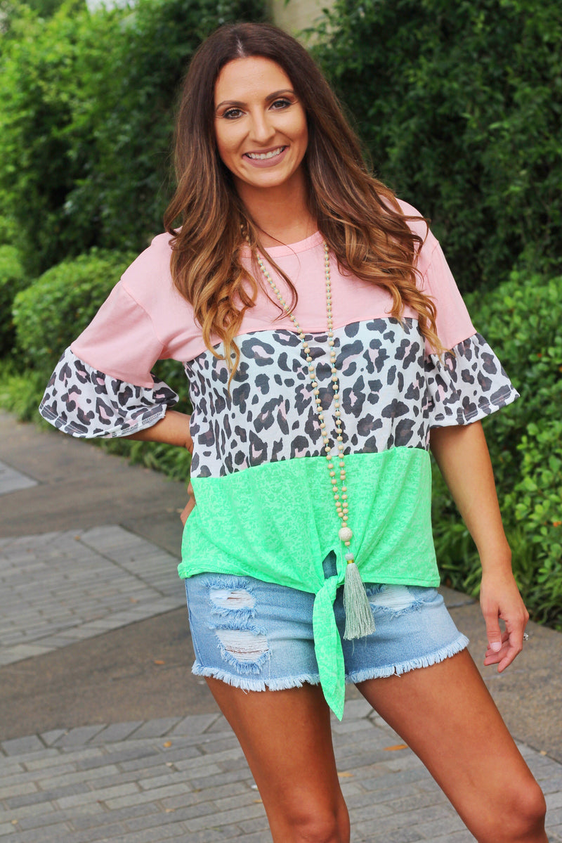 Shades Of Summer Color Block Top - Peach - West Avenue