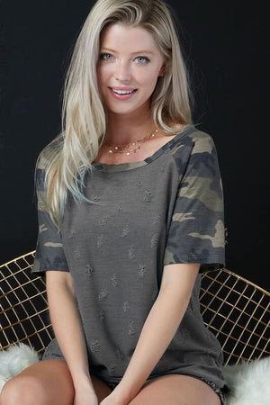 Distressed Camo Top - West Avenue