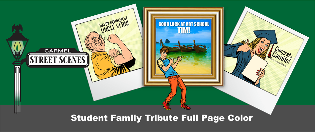 16) Full Page Color Student, Family or Alumni Tribute $1,250