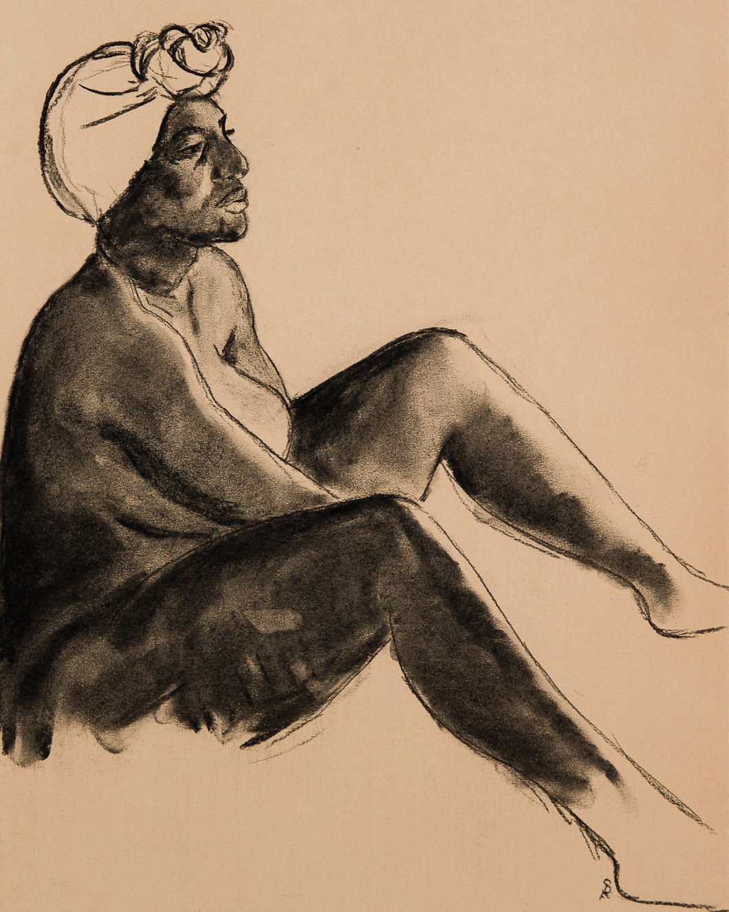 Seated Figure with Headwrap, 2017 - Print