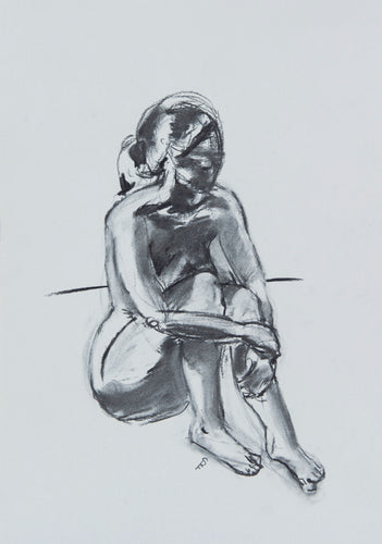 Figure with Arms Around Knees, 2018 - Print