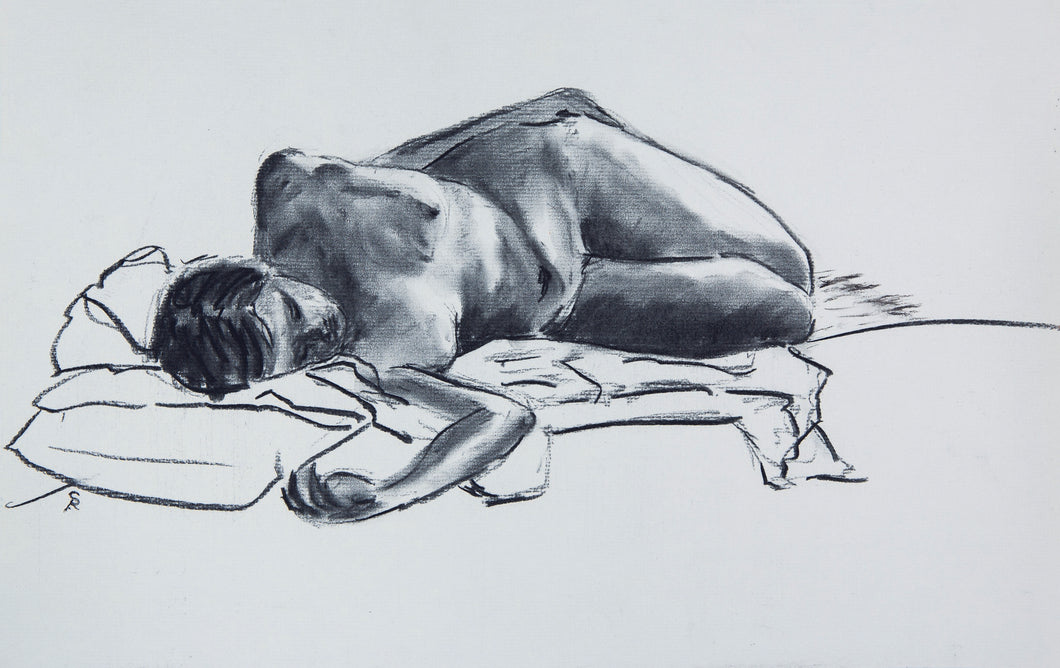 Figure Lying on Pillow, 2017 - Print