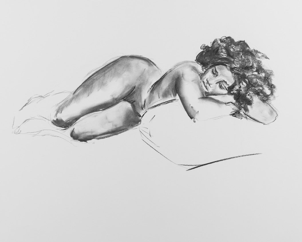 Woman with Pillow, 2018 - Print