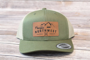 PNW Leather Patch Trucker Mesh Snap Back