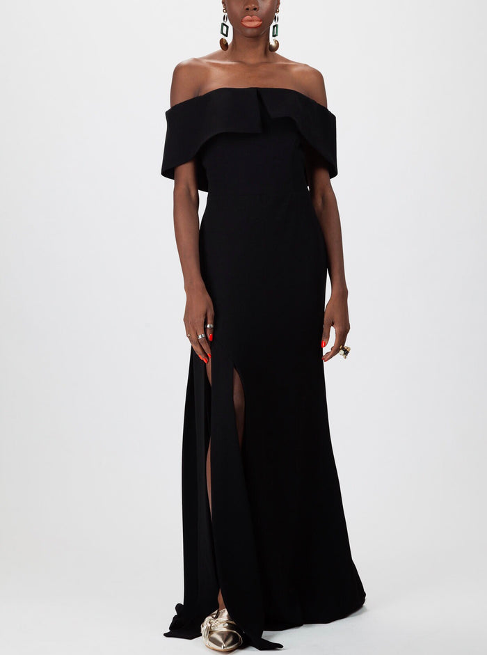 Cape  Off Shoulder Gown