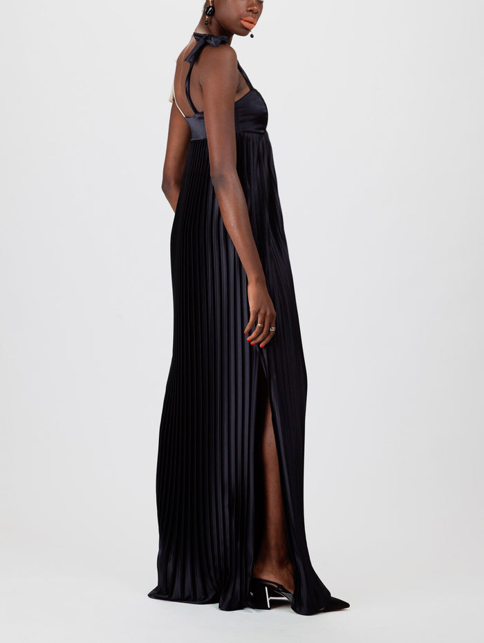 Pleated Satin Shift Gown