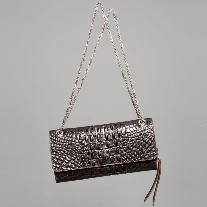 Crocrodile Effect Leather Clutch Handbag by Claudette in Montreal