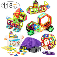 118 Pcs. Magnetic Building Blocks / Tiles Set for 3D Construction for Kids Age 3+. Educational Toy for girls and boys