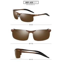 GREY JACK Lightweight Al-Mg Alloy Metal Half-frame Polarized Sports Sunglasses for men women