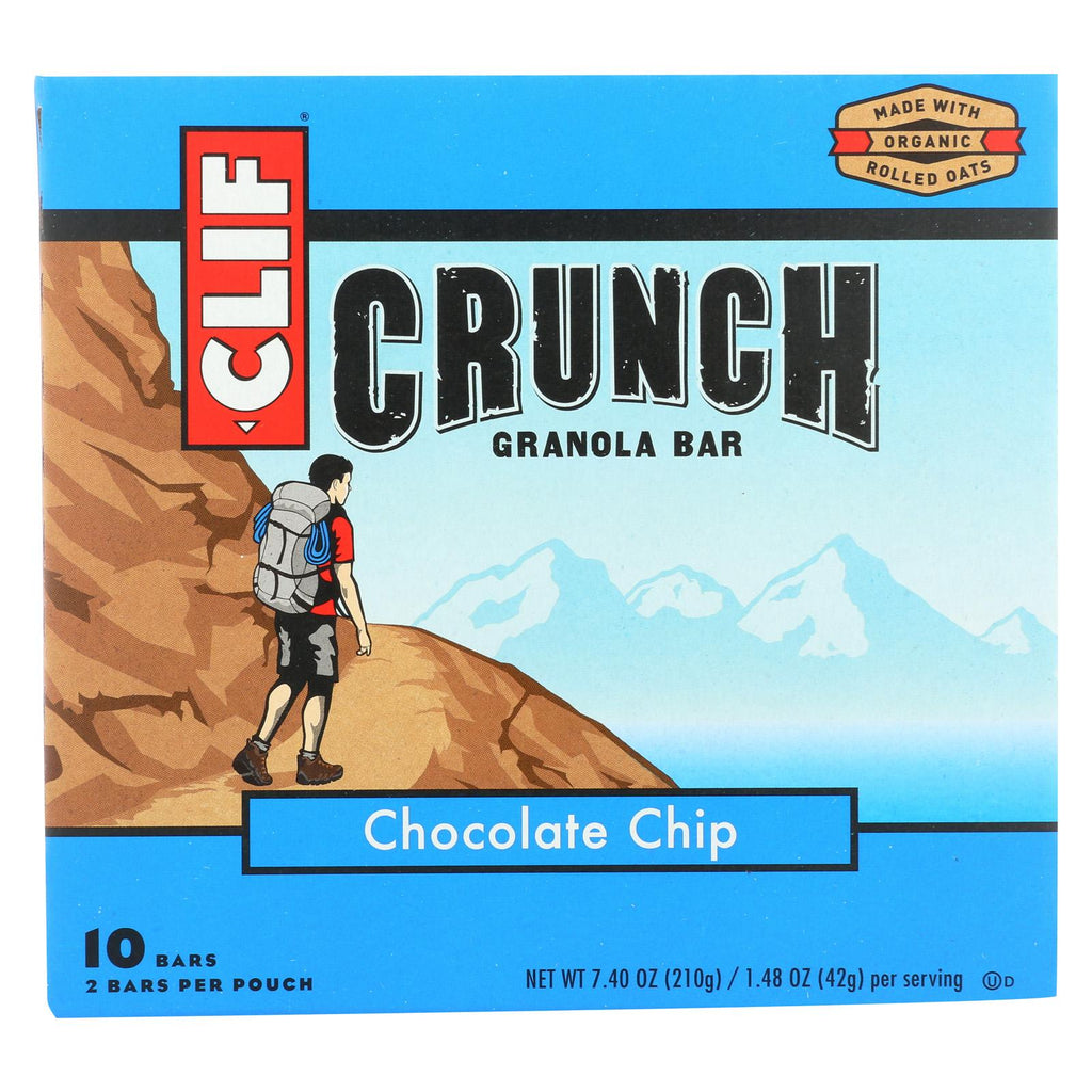 Clif Bar Organic Crunch Granola Bar - Chocolate Chip - Case Of 12 - 1.5 Oz.