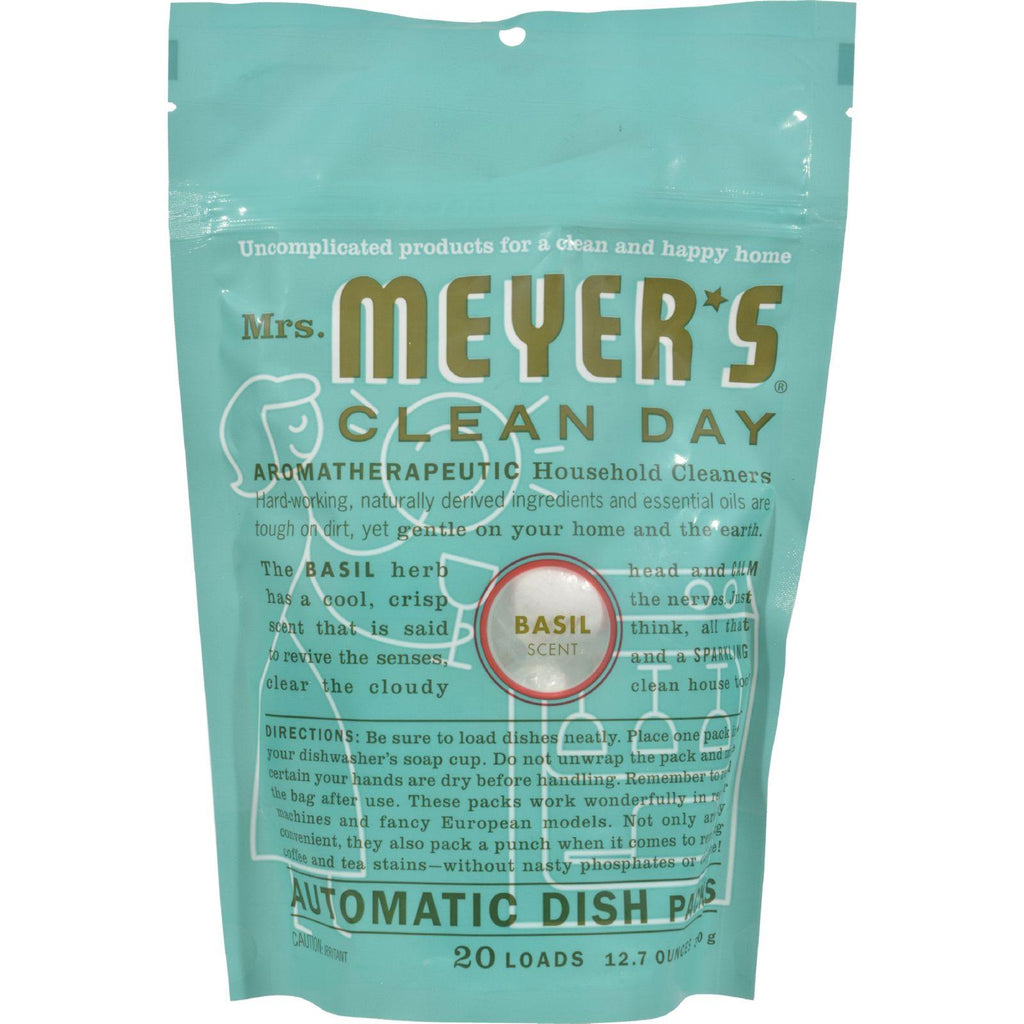 Mrs. Meyer's Automatic Dishwasher Packs - Basil - Case Of 6 - 12.7 Oz