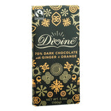 Divine Chocolate Bar - Dark Chocolate - 70 Percent Cocoa - Ginger And Orange - 3.5 Oz Bars - Case Of 10