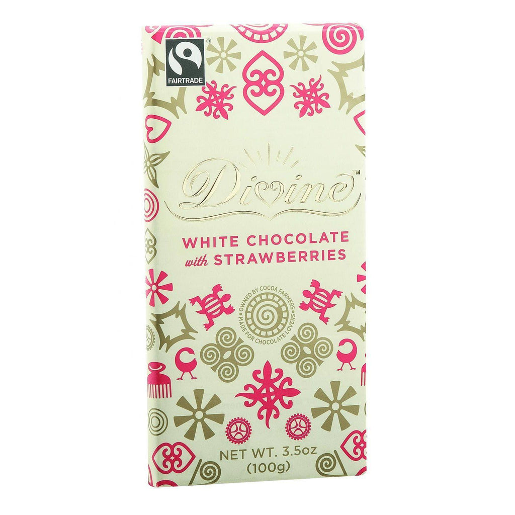 Divine Chocolate Bar - White Chocolate - Strawberry - 3.5 Oz Bars - Case Of 10
