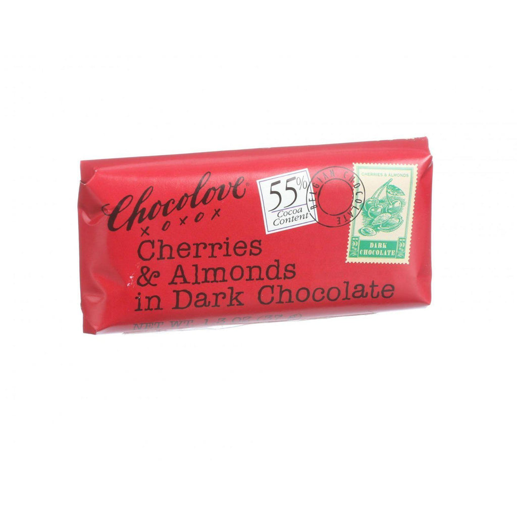Chocolove Xoxox Premium Chocolate Bar - Dark Chocolate - Cherries And Almonds - Mini - 1.3 Oz Bars - Case Of 12
