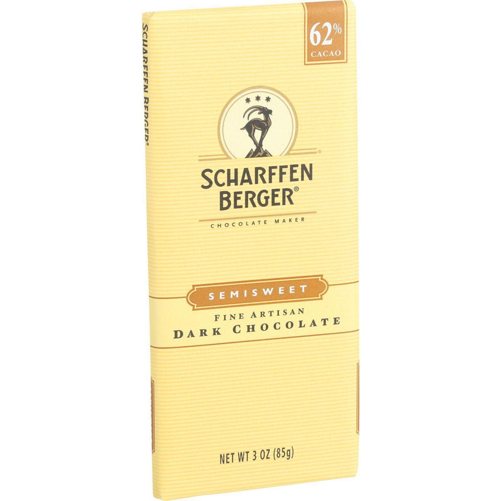 Scharffen Berger Chocolate Bar - Dark Chocolate - 62 Percent Cacao - Semisweet - Fine Artisan - 3 Oz Bars - Case Of 12