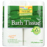 Field Day Bath Tissue - 100 Percent Recycled - 2-ply - 175 Sheets Each - 4 Rolls - Case Of 24