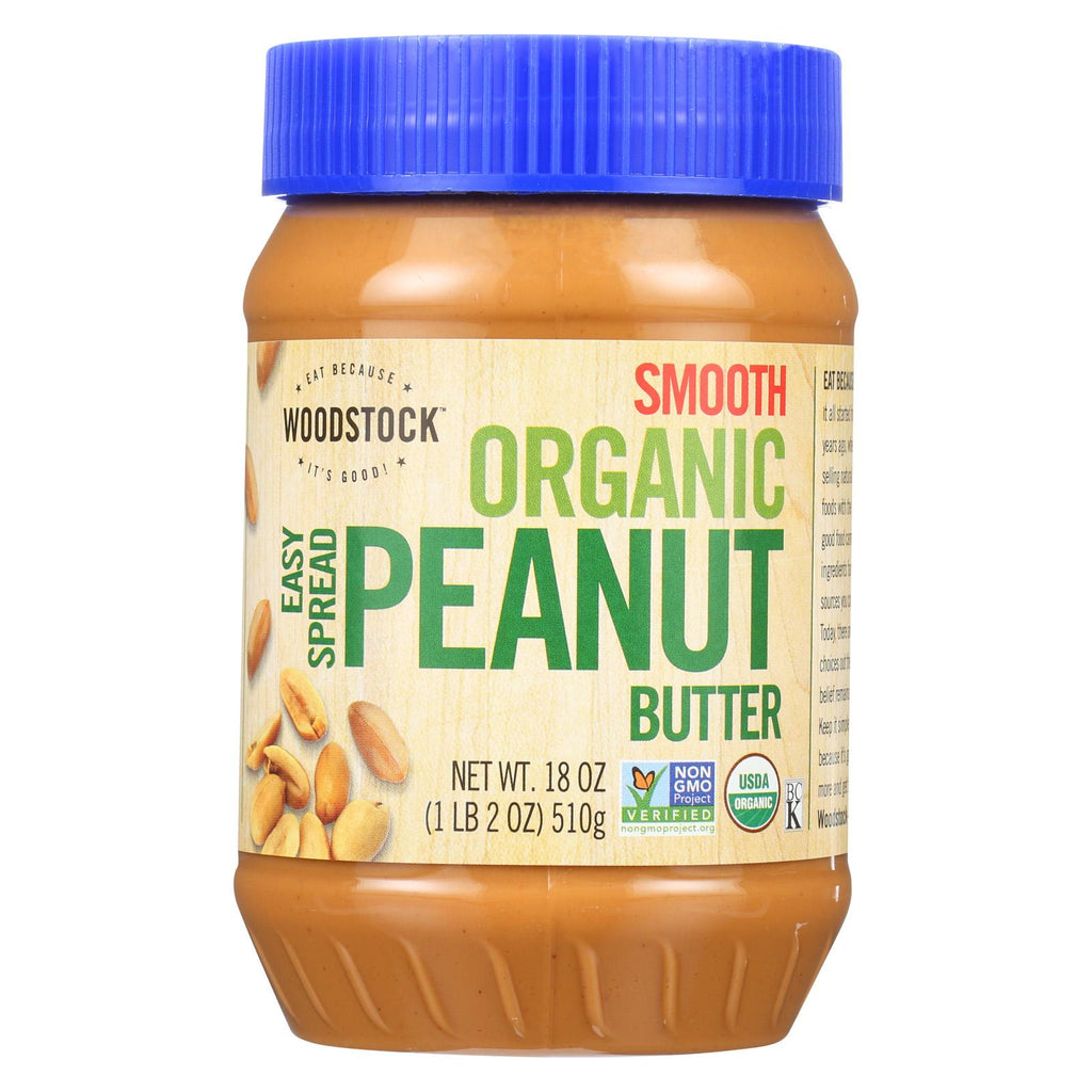 Woodstock Smooth Peanut Butter - Case Of 12 - 18 Oz.