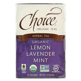 Choice Organic Herbal Tea - Lemon Lavender Mint - Case Of 6 - 16 Bags