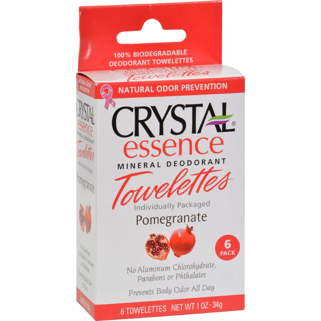 Crystal Essence Mineral Deodorant Towelettes Pomegranate - 6 Towelettes