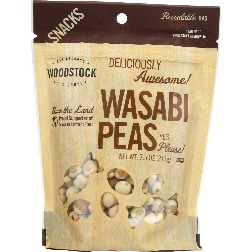 Woodstock Snacks - All Natural - Peas - Wasabi - 7.5 Oz - Case Of 8