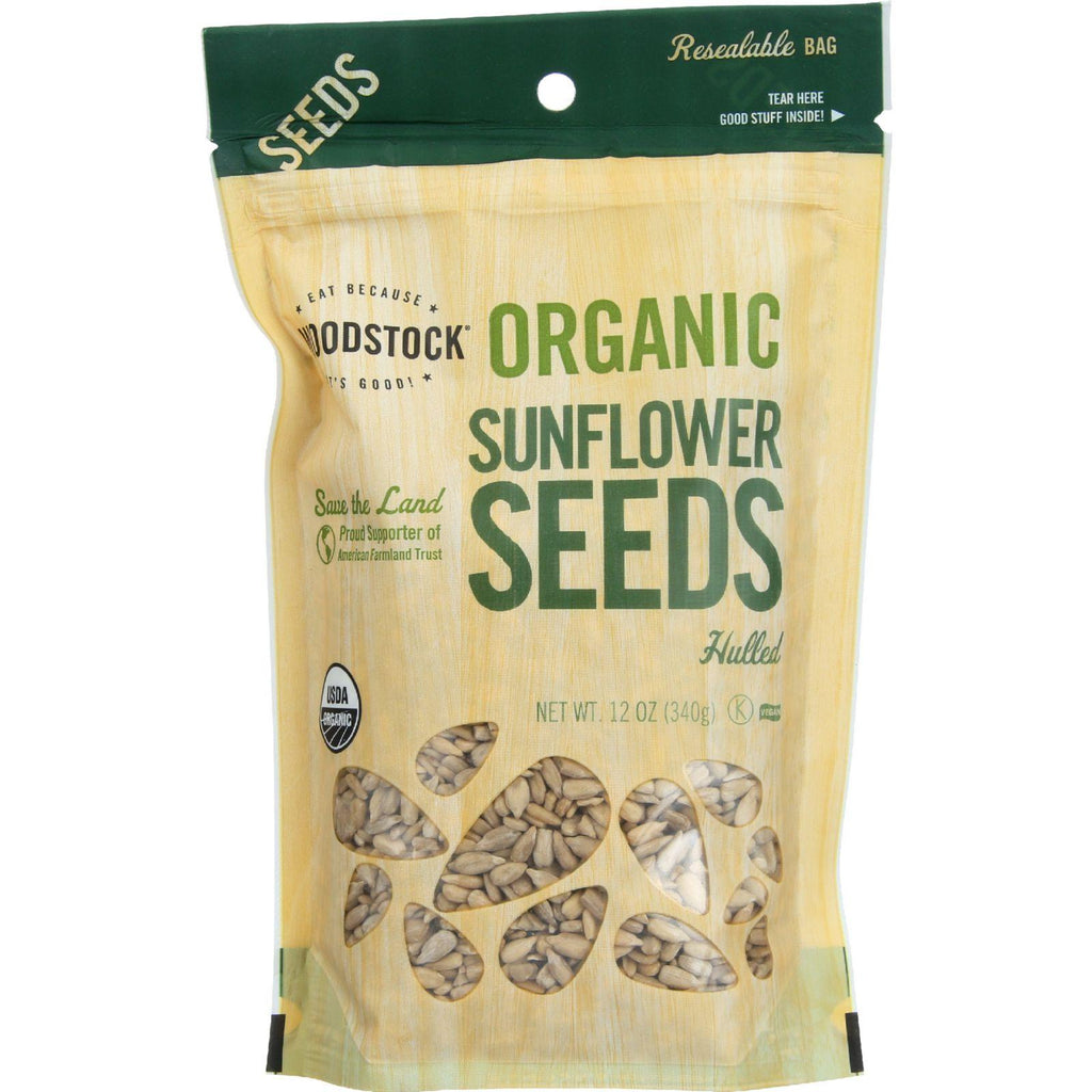 Woodstock Seeds - Organic - Sunflower - Hulled - Raw - 12 Oz - Case Of 8