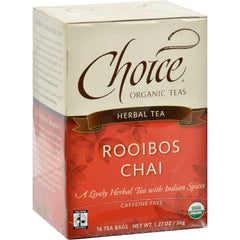 Choice Organic Teas Herbal Tea Rooibos Chai - Caffeine Free - Case Of 6 - 16 Bags