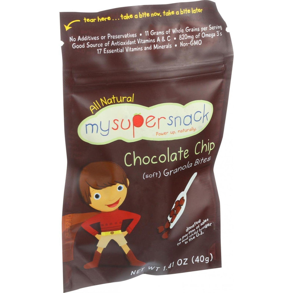 Mysupersnack Soft Granola Bites - Chocolate Chip - 1.41 Oz - Case Of 6