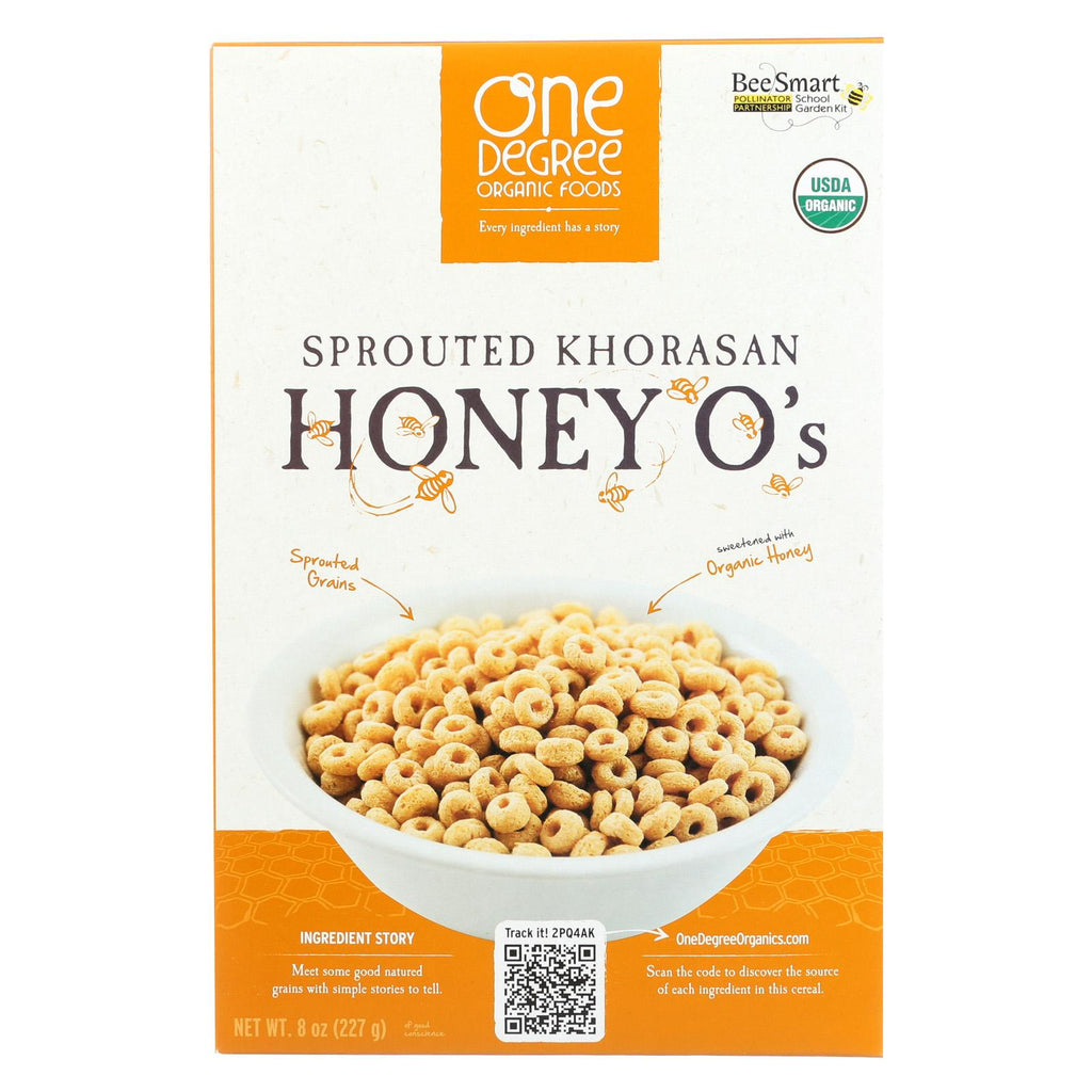 One Degree Organic Foods Sprouted Cereal Khorasan O's - Honey - Case Of 6 - 8 Oz.