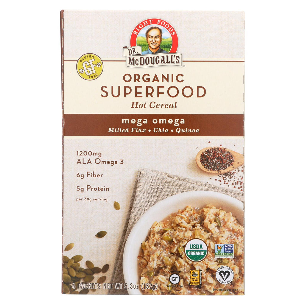 Dr. Mcdougall's Organic Superfood Mega Omega Oatmeal - Case Of 8 - 5.3 Oz.