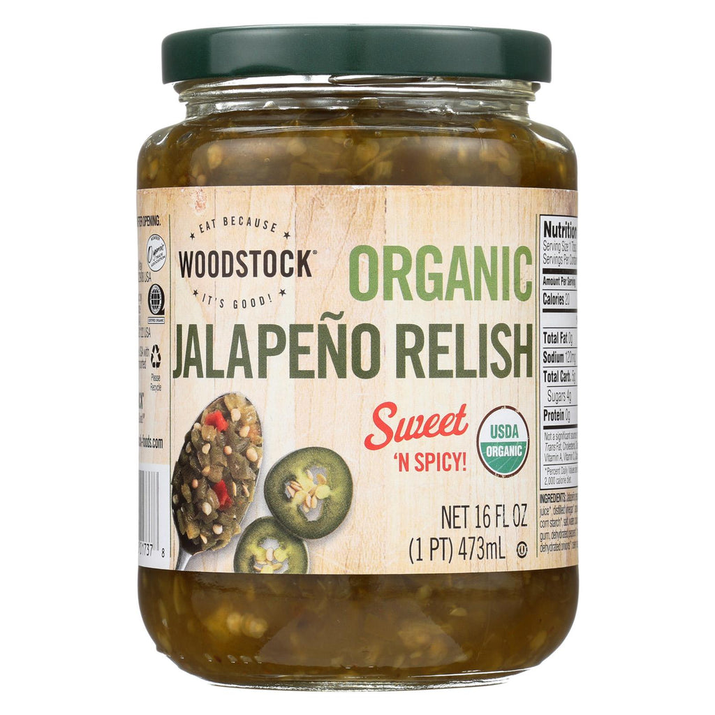 Woodstock Organic Jalapeno Relish - Case Of 6 - 16 Oz.