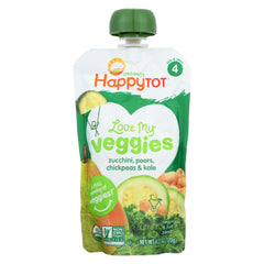 Happy Baby Organic Love My Veggies - Zucchinis - Pears - Chickpeas - Kale - Case Of 16 - 4.22 Oz