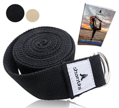Shantihi Yoga Strap for Stretching – Super Soft Adjustable Poly Cotton Stretch Strap with D-Ring Buckle. Yoga Accessories for Exercise, Pilates, Fitness, Therapy. 8Ft. FREE bonus eBook.