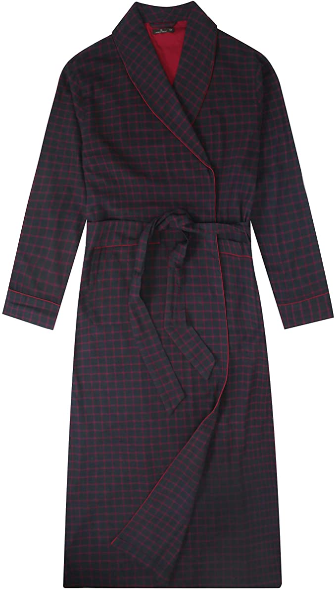 Mens Robe - 100% Cotton Flannel Robe Long - Checks - Black-Fig