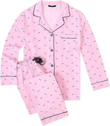 Womens Premium 100% Cotton Flannel Pajama Sleepwear Set - Twinkle Pink-Grey