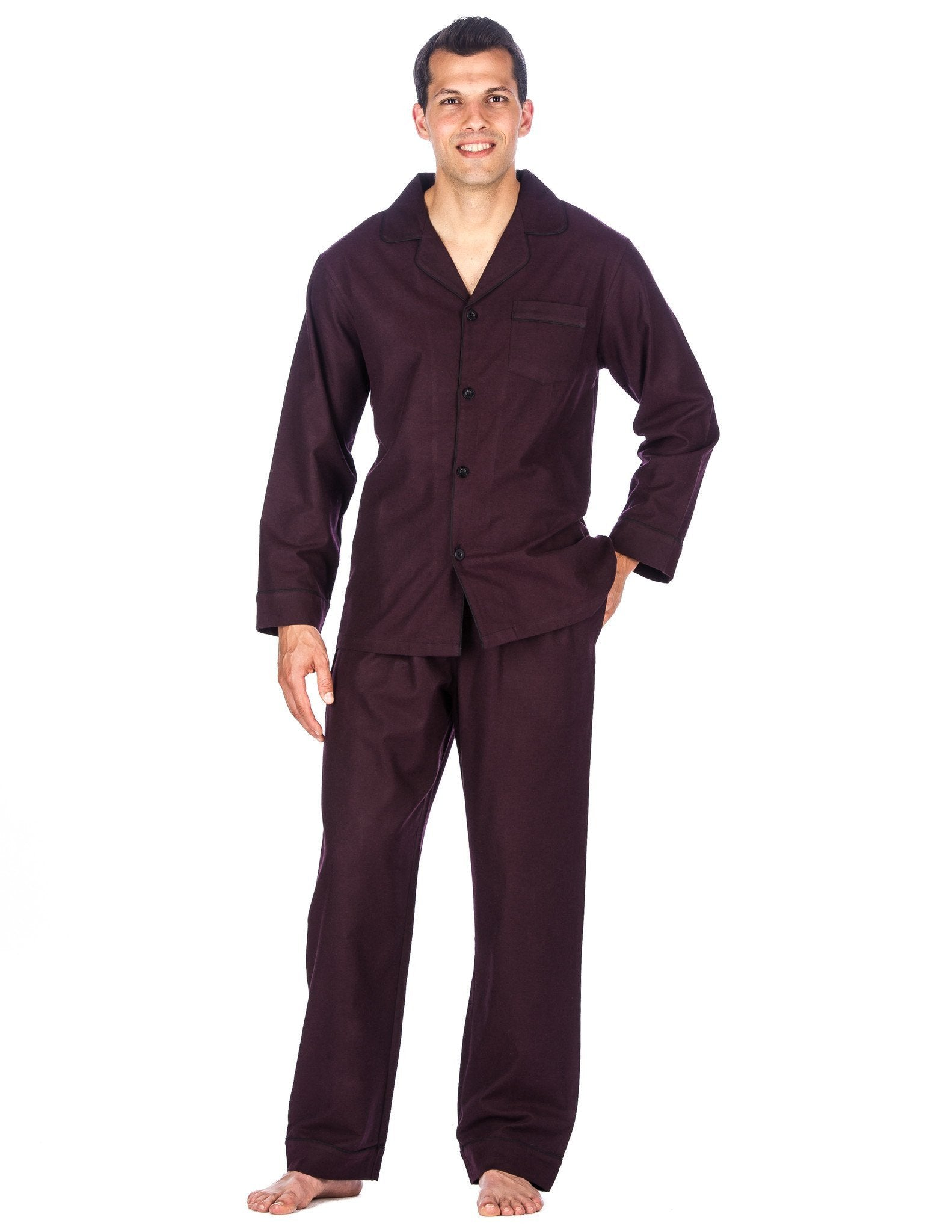 Relaxed Fit Men's Premium 100% Cotton Flannel Pajama Sleepwear Set - Fig