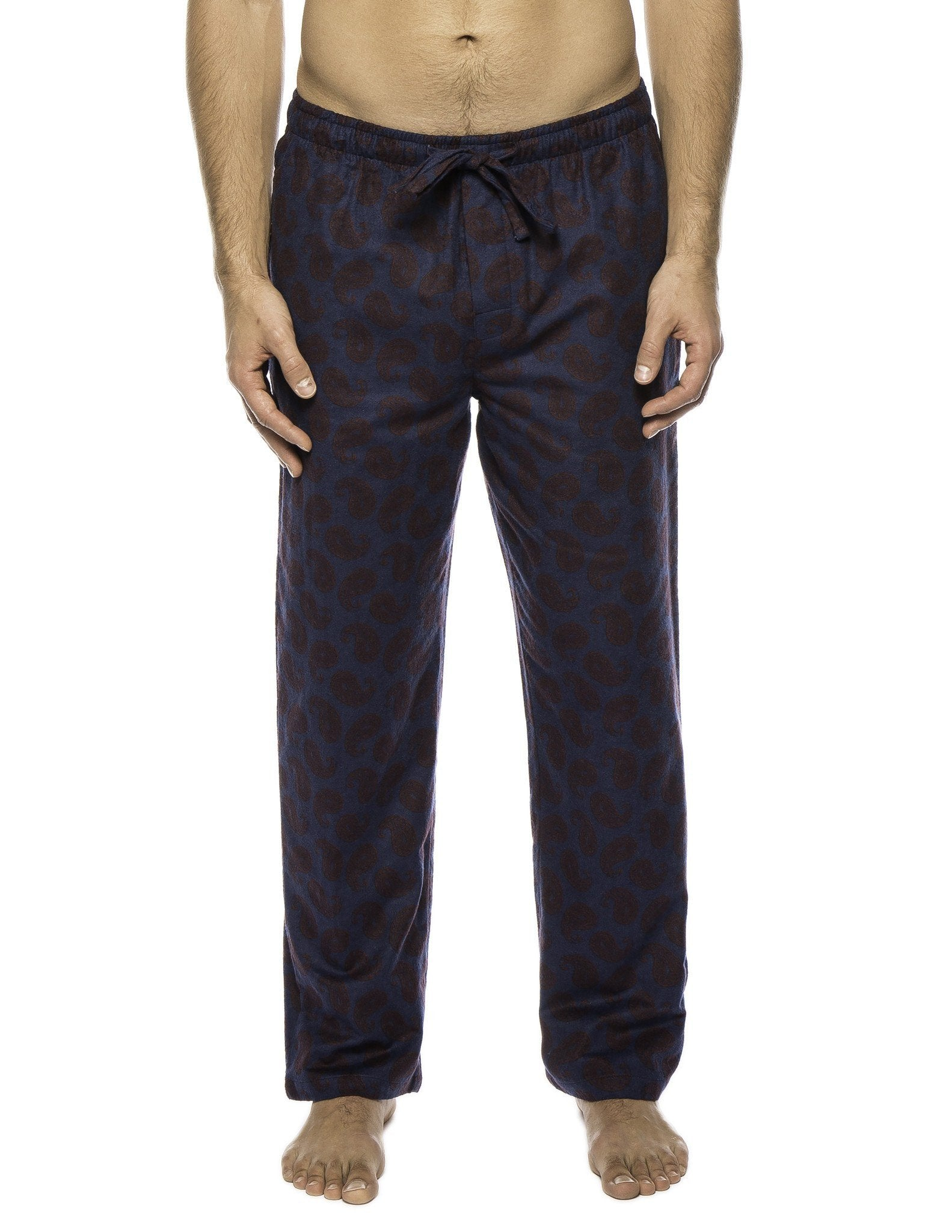 Men's 100% Cotton Flannel Lounge Pants - Paisley Navy/Brown