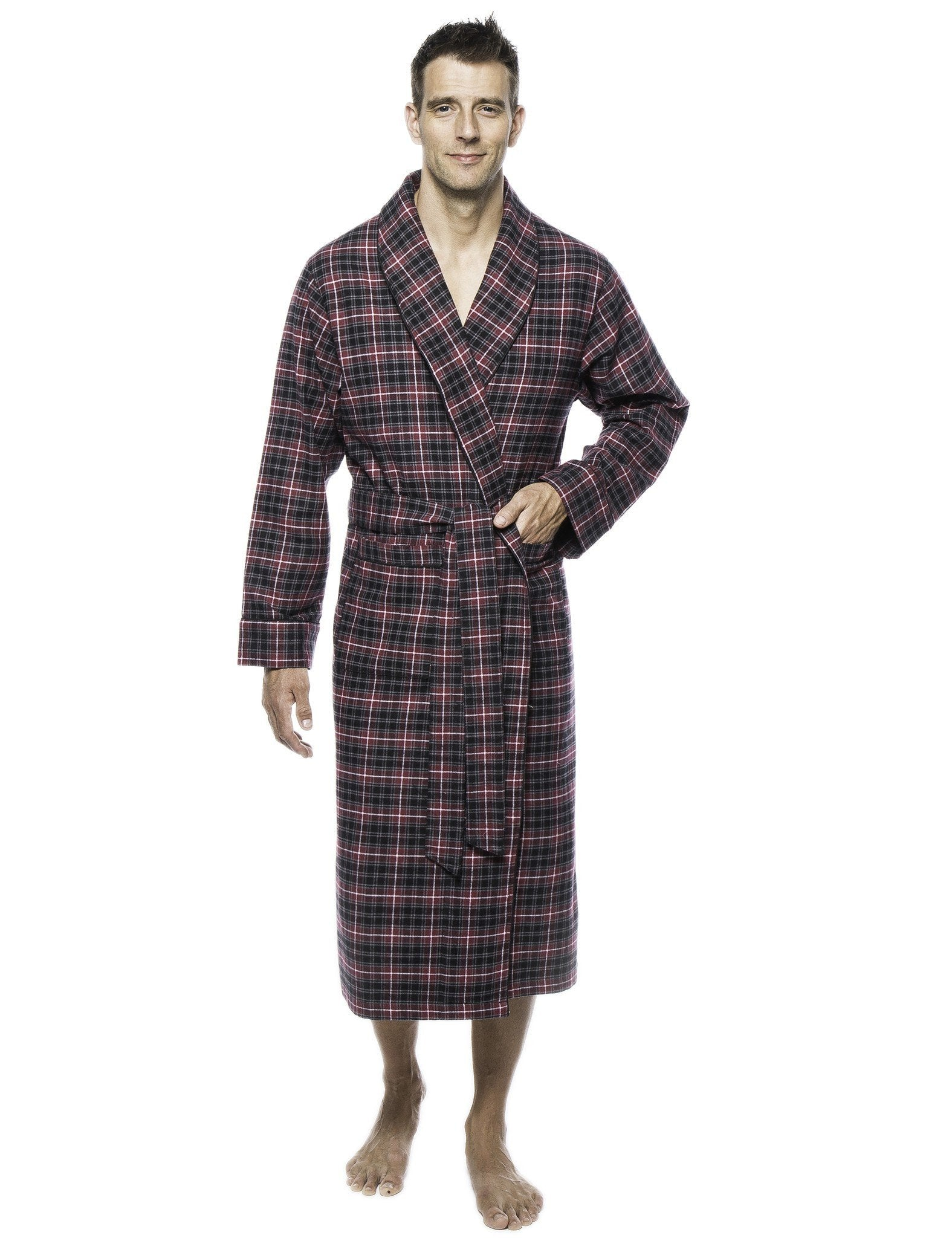 Mens Premium 100% Cotton Flannel Robe - Burgundy/Grey