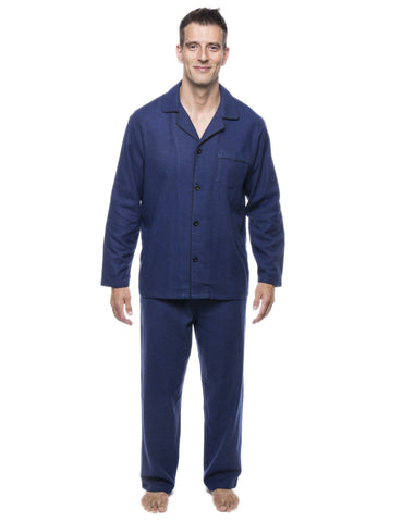 Men's 100% Cotton Flannel Pajama Set - Herringbone Blue/Black