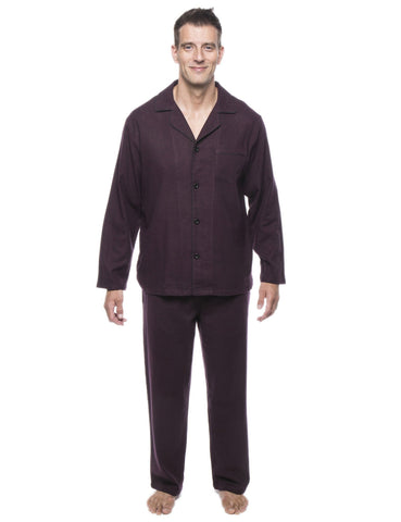 Men's 100% Cotton Flannel Pajama Set - Herringbone Fig/Black