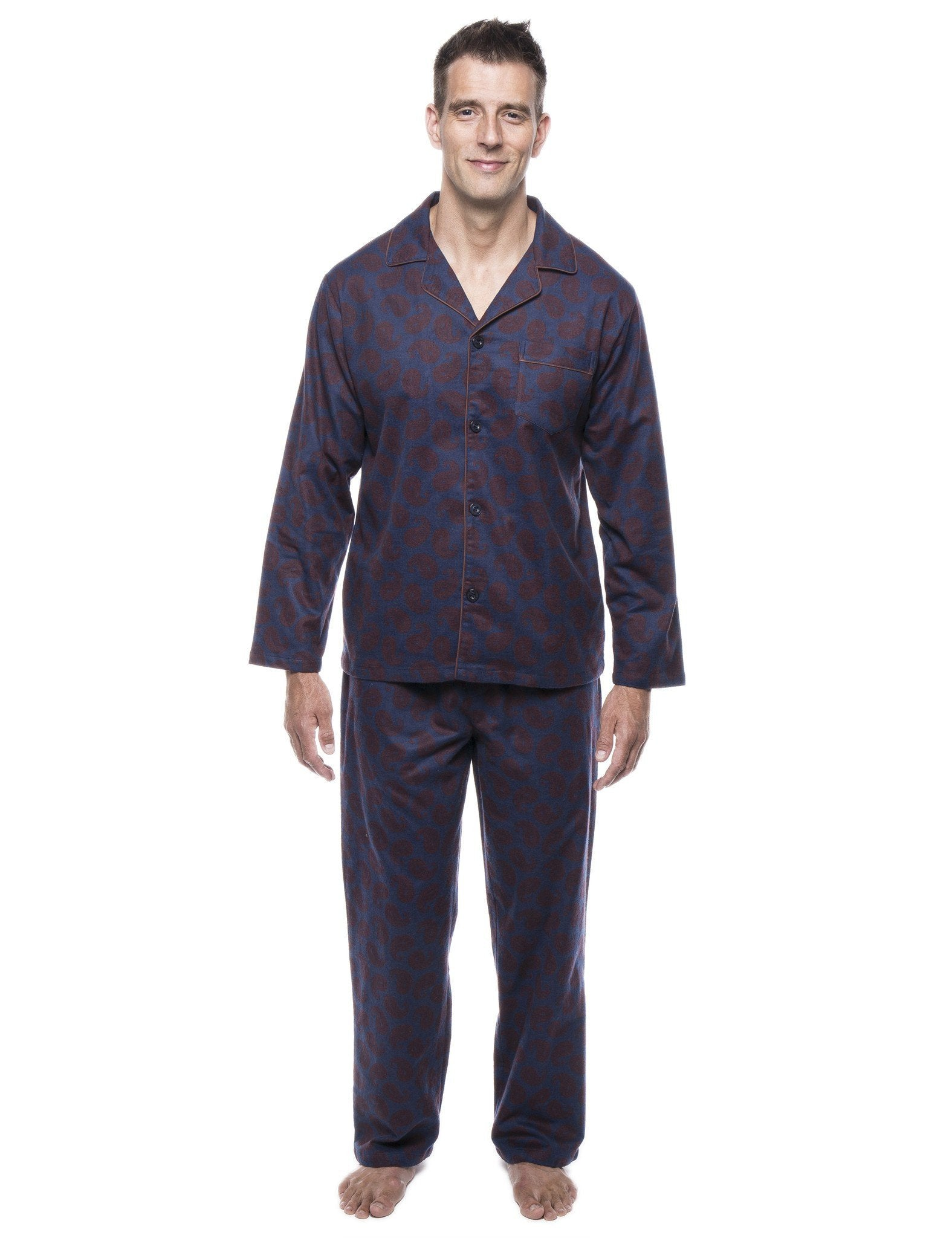 Men's 100% Cotton Flannel Pajama Set - Paisley Navy/Brown