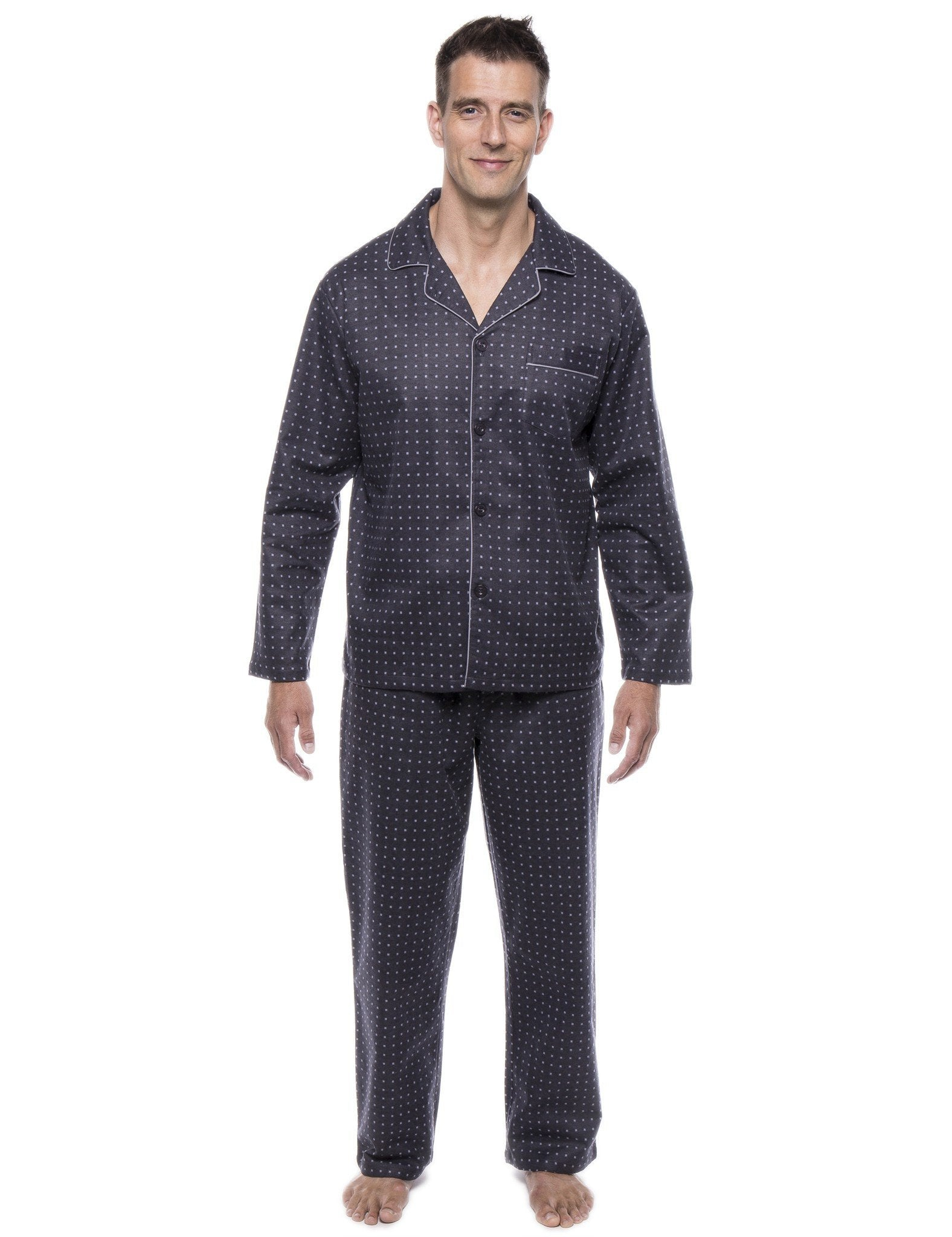 Men's 100% Cotton Flannel Pajama Set - Floating Squares Dark Grey