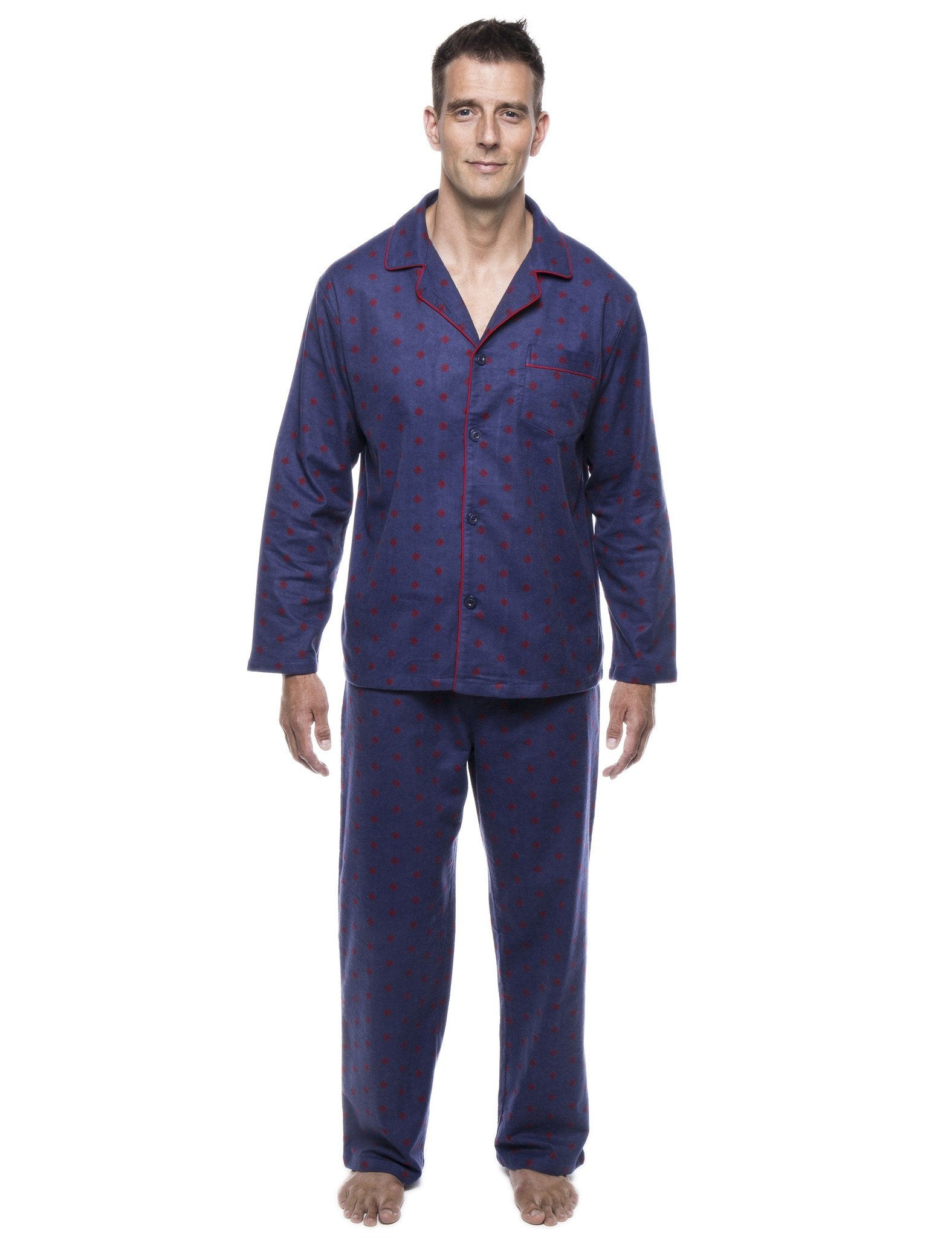 Men's 100% Cotton Flannel Pajama Set - Double Diamond Navy/Red