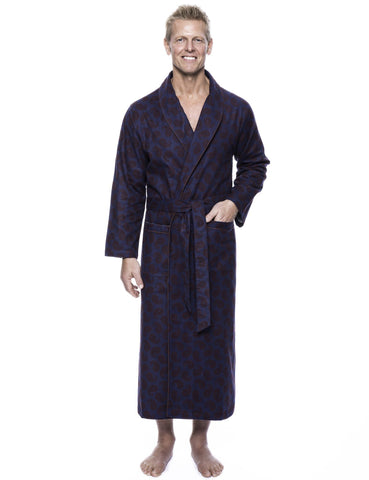 Men's 100% Cotton Flannel Long Robe - Paisley Navy/Brown